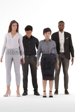 Animated 3D People model for realtime, VR and AR – bundle, standing, office, business look