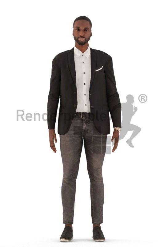Animated 3D People model for 3ds Max and Maya – black man in business suit, standing