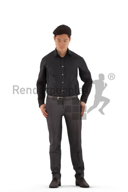 Animated 3D People model for 3ds Max and Maya – asian male in business shirt, standing