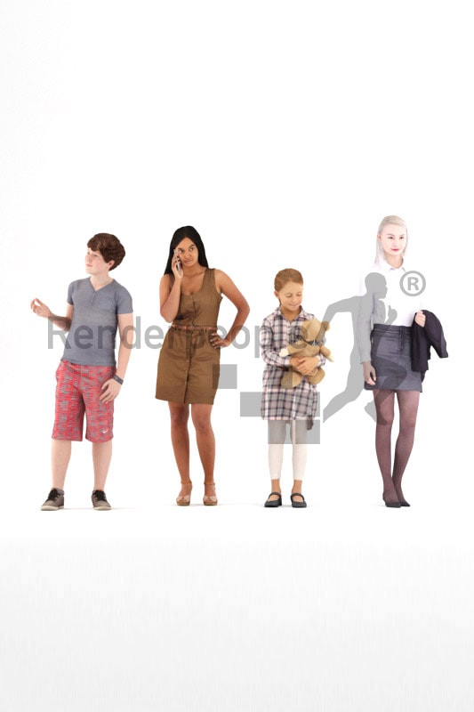 bundle of standing 3d people