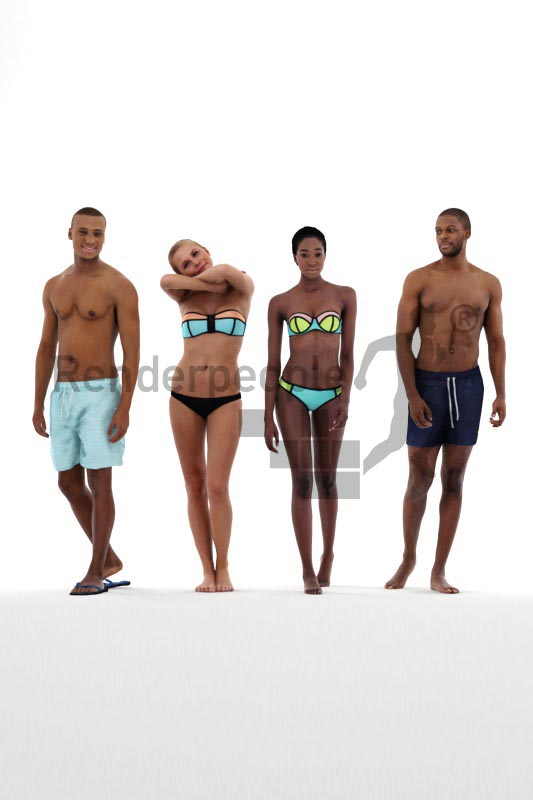 bundle of in swimwear dressed 3d people