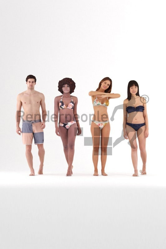 3d people swimwear, 3d human bundle for beach and pool renderings