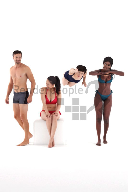 3D People model for 3ds Max and Sketch Up – Bundle people at the beach/pool, swimm wear