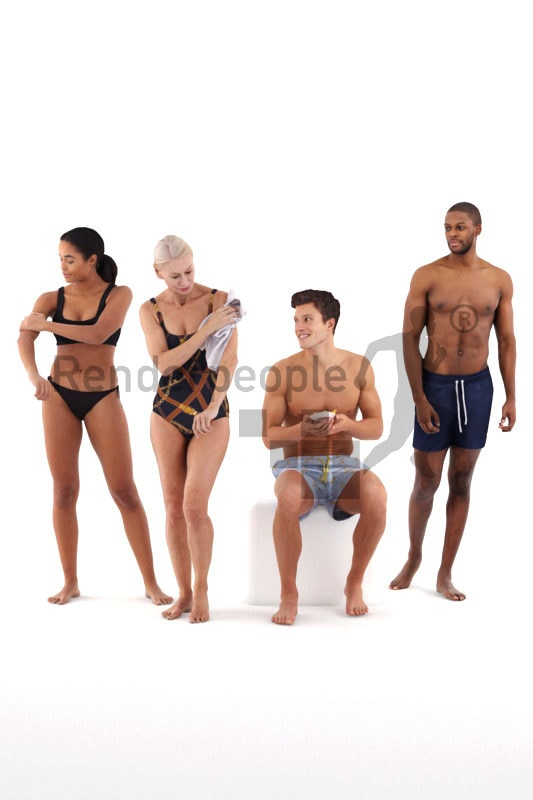 Posed 3D People model for renderings – People in swimm wear, pool/Beach