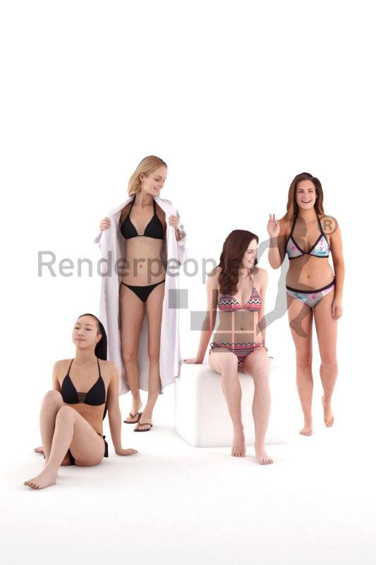 Posed 3D People model for renderings – Bundle females in swimm wear
