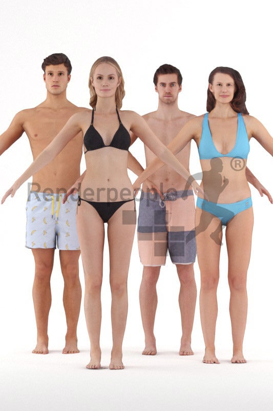 3d people beach/pool, 3d people bundle rigged