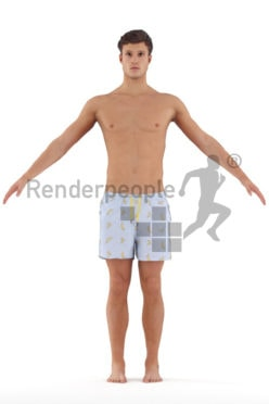 3d people beach/pool, 3d people white man rigged