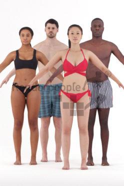 3d people beach/pool, 3d bundle rigged