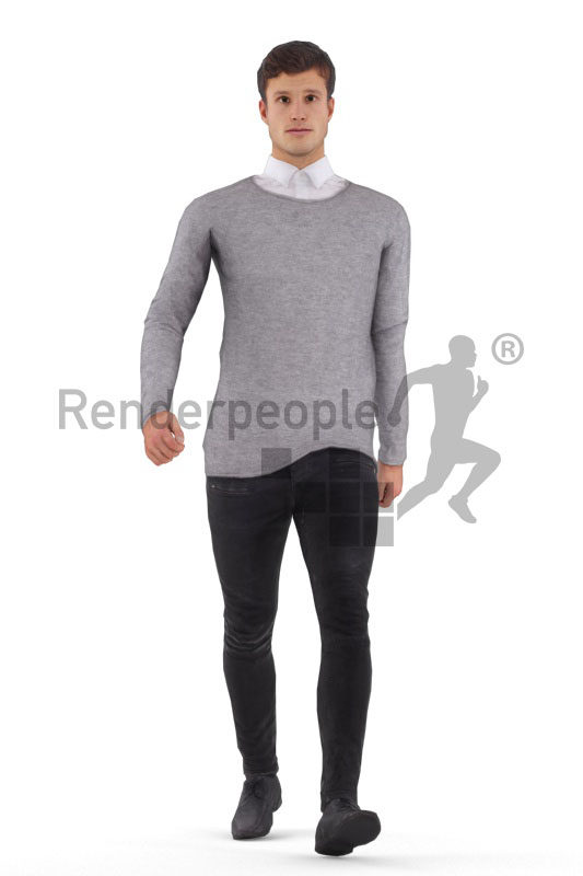 Animated human 3D model by Renderpeople – european male in smart casual outfit, walking