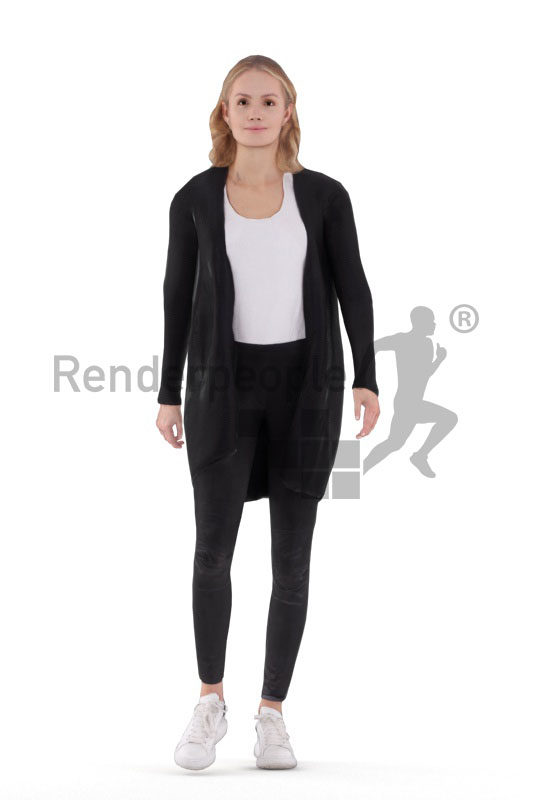 Animated human 3D model by Renderpeople – european woman in smart casual outfit, walking