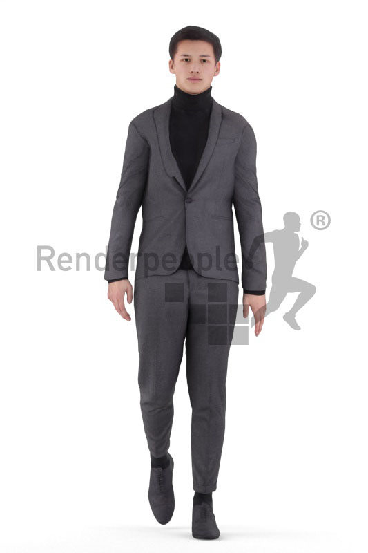 Animated human 3D model by Renderpeople – european male in business outfit, walking