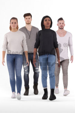 3D People model for animations – bundle casual people, walking