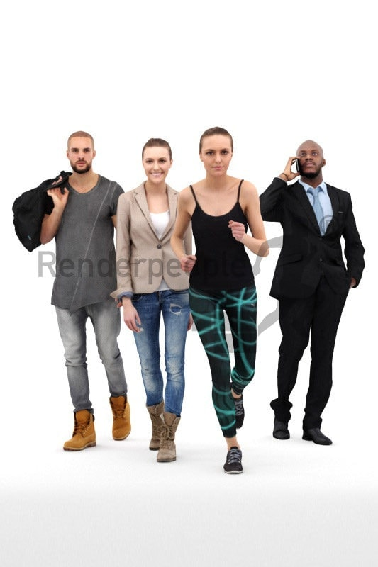 bundle of walking 3d people