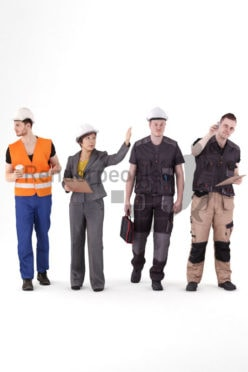 Posed 3D People model for visualization – Bundle, people in workwear