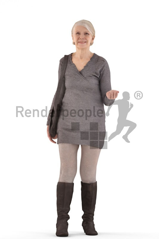 3d people casual, best ager woman talking and holding a bag