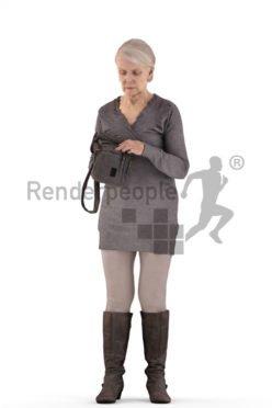 3d people casual, best ager woman standing and searching her bag