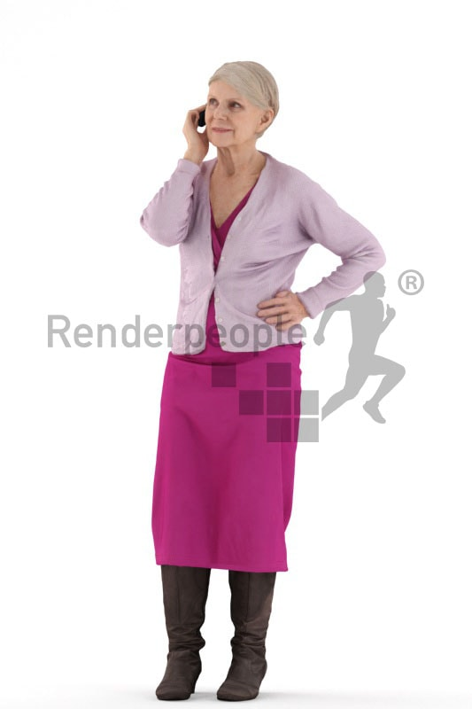 3d people casual, best ager woman standing and talking to somebody on her phone