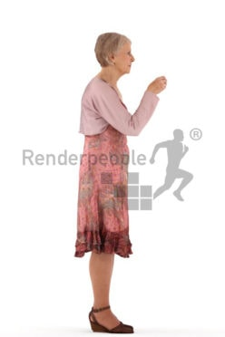 3d people casual, best ager woman standing and holding a glass