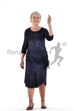 3d people event, best ager woman walking and waving