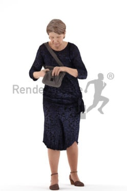 3d people event, best ager woman standing and searching in her bag