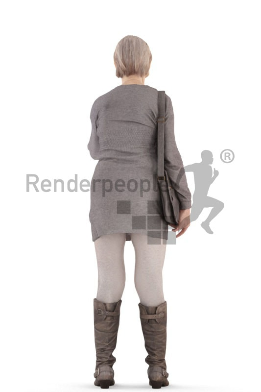 3d people casual, best ager woman standing and pointing at something