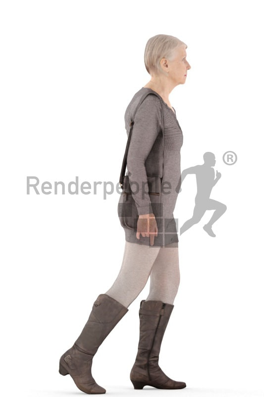 3d people casual, best ager woman walking