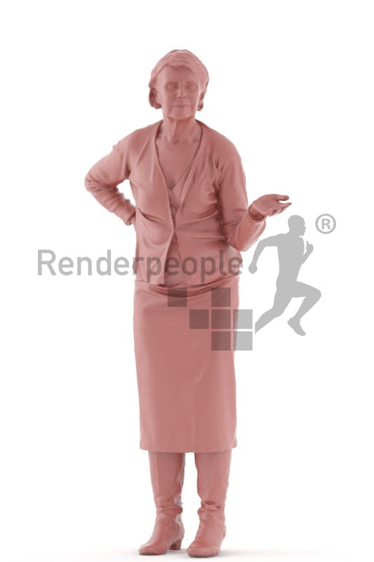 3d people casual, best ager woman standing and holding out her hand