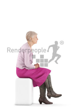 3d people casual, best ager woman sitting
