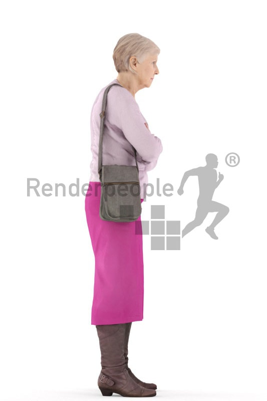 3d people casual, best ager woman standing with her arms crossed