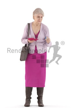 3d people casual, best ager woman walking and paying with her cedit card