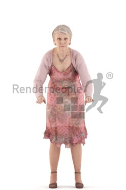 3d people casual, best ager woman leaning against a railing