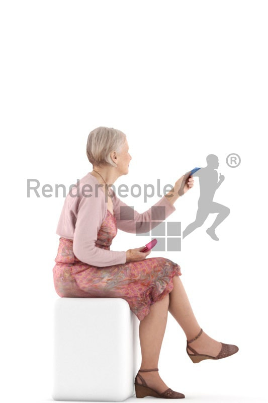 3d people casual, best ager woman sitting and paying