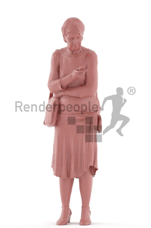3d people casual, best ager woman standing and looking at her phone