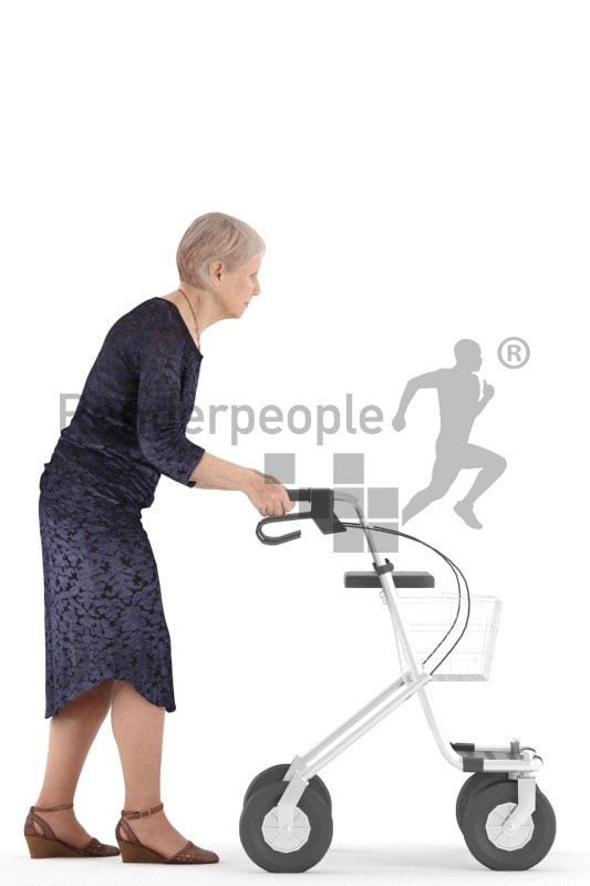 3d people casual, best ager woman walking with her rollator