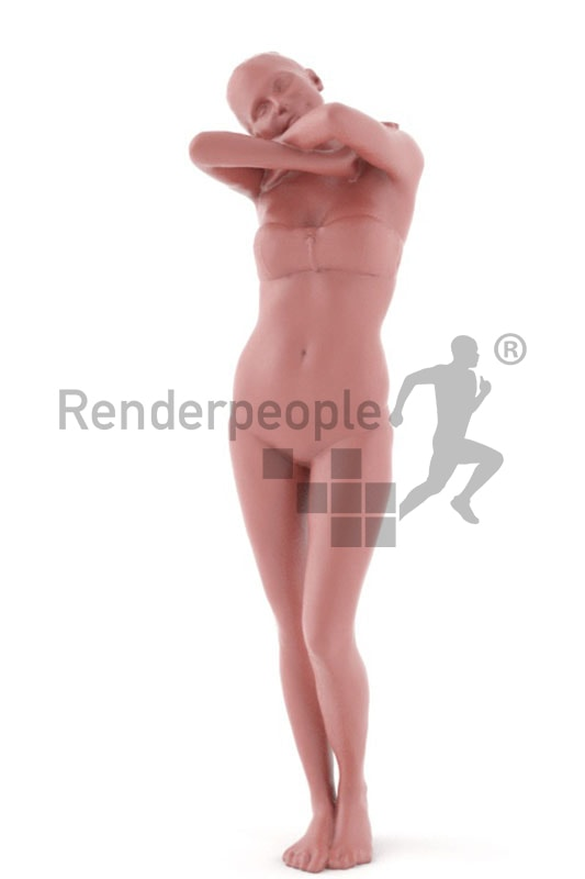 3d people beach, white 3d woman in bikini