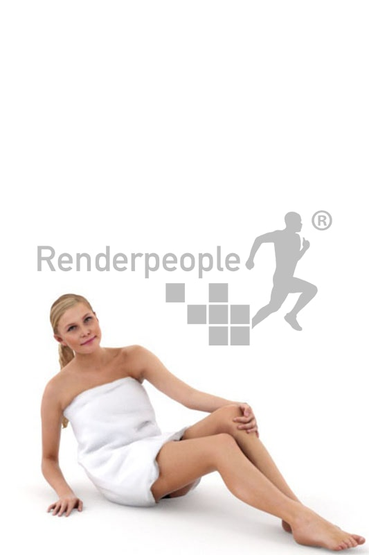 3d people spa, white 3d woman with a towl sitting
