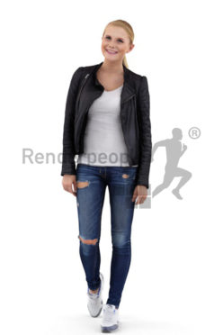 3d people casual, white 3d woman wearing a leather jacket