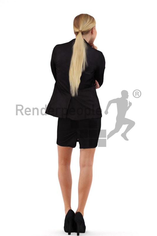 3d people business, white 3d woman standing and thinking