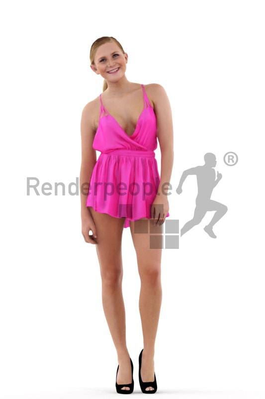 3d people casual, attractive white 3d woman standing and smiling