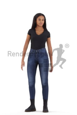 Human 3D model for animations – black woman in daily clothing standing