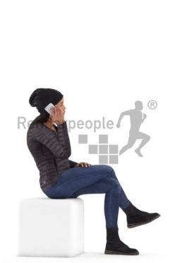 Human 3D model for animations – black woman, outdoor, sitting and calling