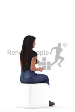 3D People model for 3ds Max and Maya – black woman, sitting and communicating