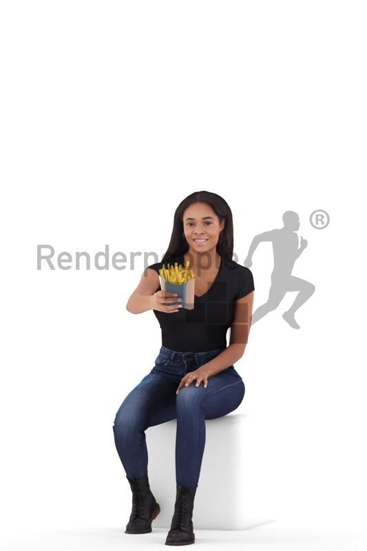 Scanned 3D People model for visualization – white woman, offering some fries
