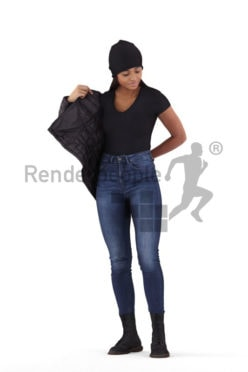 3D People model for 3ds Max and Sketch Up – black woman standing, outdoor, putting on her jacket