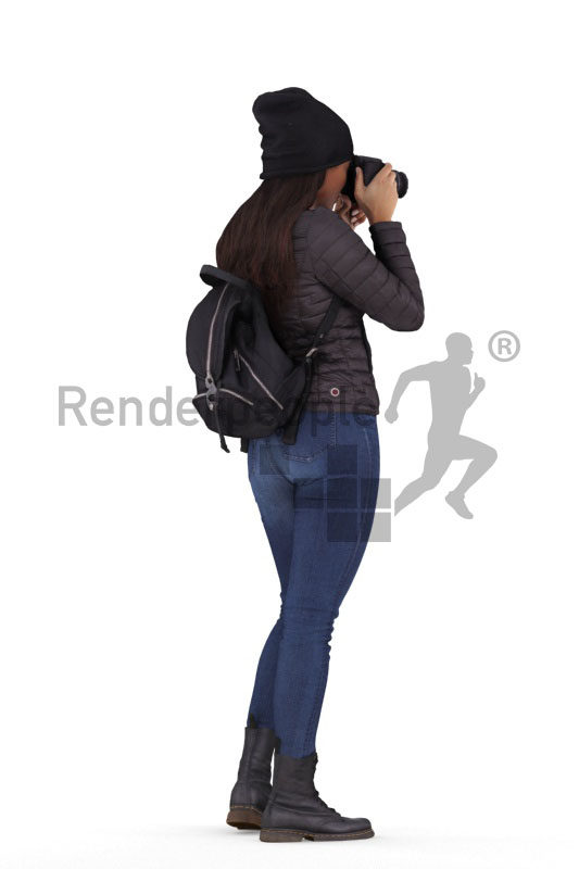 3D People model for 3ds Max and Sketch Up – black woman standing, outdoor, taking pictures