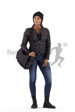 3D People model for 3ds Max and Sketch Up – black woman standing, outdoor