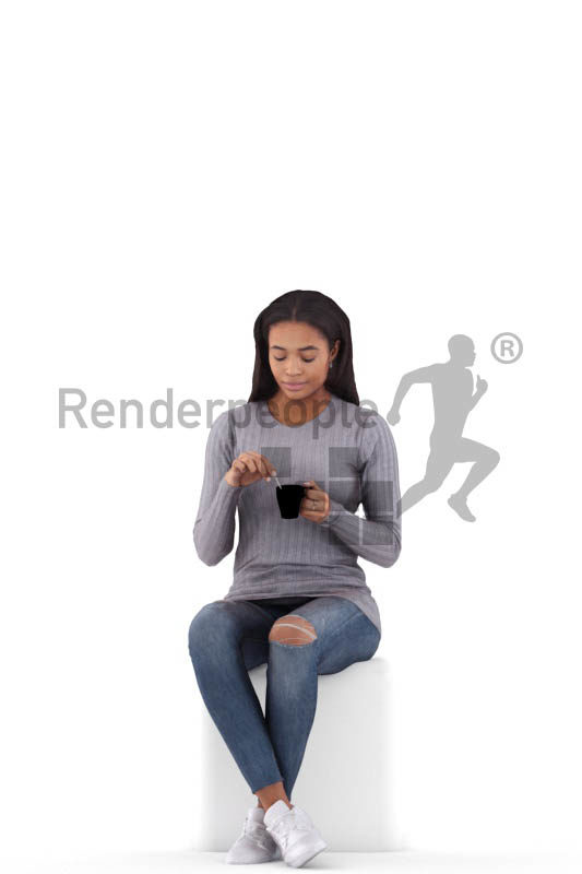 Photorealistic 3D People model by Renderpeople – black woman sitting and drinking