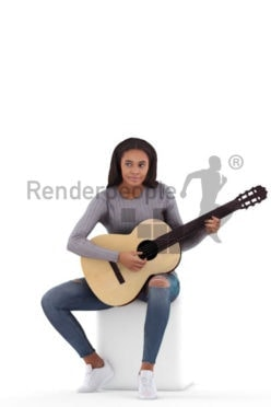 Posed 3D People model by Renderpeople – black woman playing the guitar