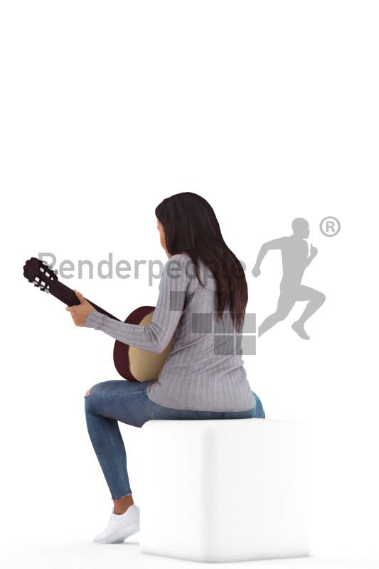 Posed 3D People model by Renderpeople – black woman playing the guitar