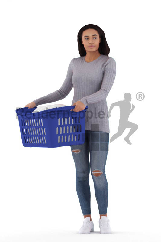 3D People model for 3ds Max and Sketch Up – black woman, casual, walking with a laundry basket